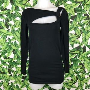 5 for $25 Cache Black Long Sleeve Cutout Top